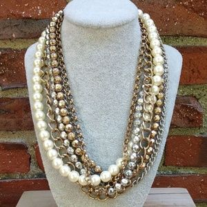Faux pearl, silver, gold chain and bead necklace